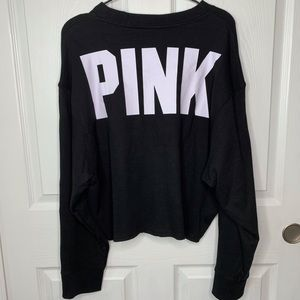 Pink Crop Sweater with Button Arms